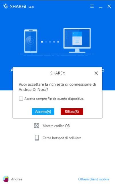 ShareIt PC Windows Accetta Connessione