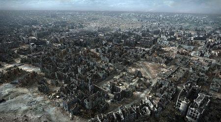Кадър от триизмерната реставрация на разрушената Варшава такава, каквато я вижда съветската армия, когато влиза в столицата през януари 1945г.