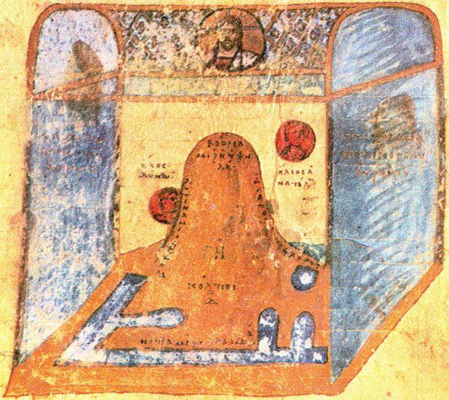 Карта на света според Козма Индикоплевст и библейските текстове