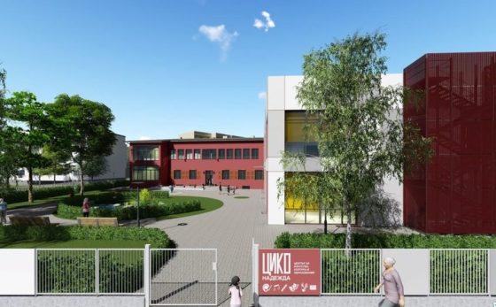 В проекта новата (вдясно в профила) е свързана със старата сграда (червена в долната част), визуализация.