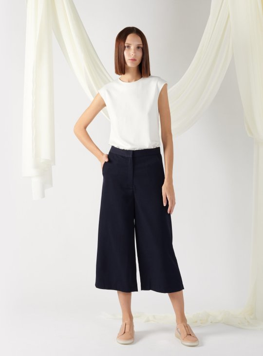 wide-leg textured trousers in navy