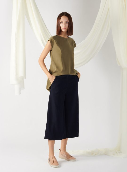 top with back slit in moss