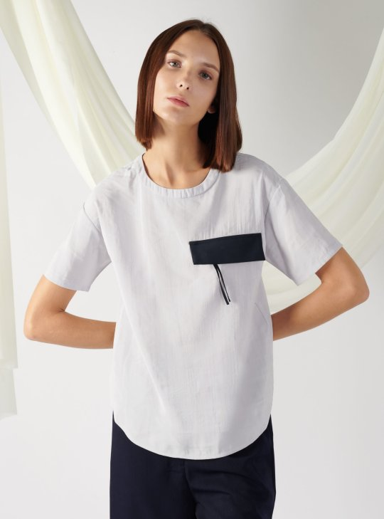 top with flap pocket in mist
