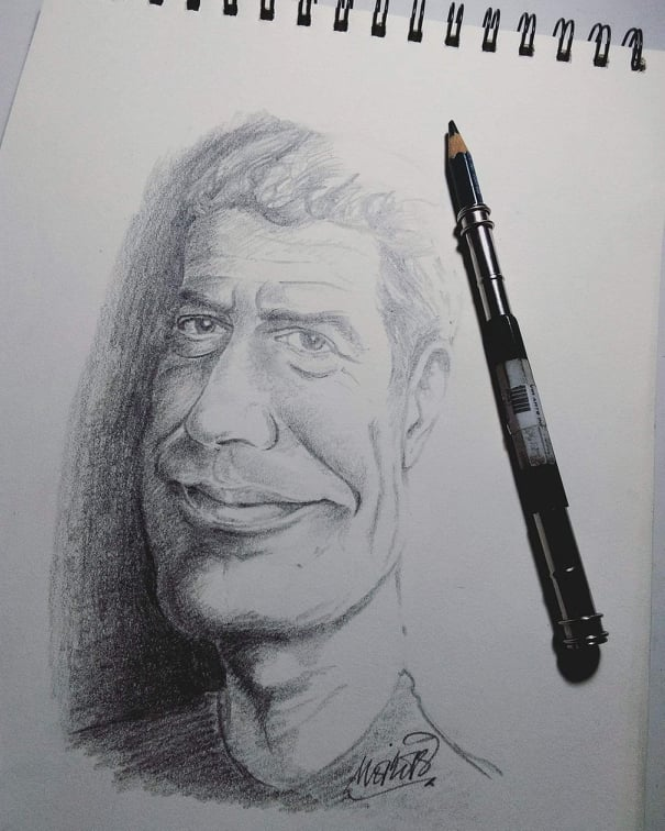 THE EDITORS' FAVORITE. A sketch of Anthony Bourdain is the favorite among all the artworks of the artist.
