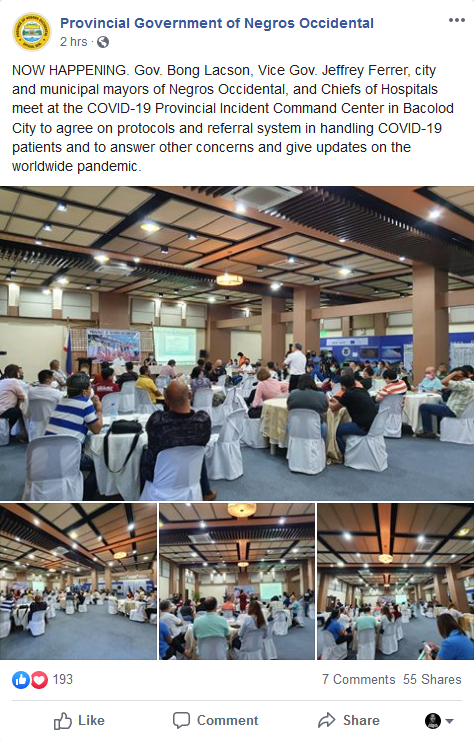 Screencap from Provincial Government of Negros Occidental FB page.