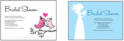 Printable Bridal Shower Invitations Birds
