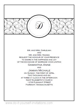 Wedding Invitation Template Blue Or Black