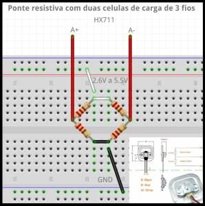 ponte resistiva - célula de carga de 3 fios