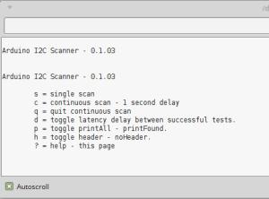 Menu do scanner I²C
