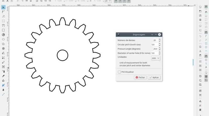 Como fazer engrenagens com o Inkscape - menu