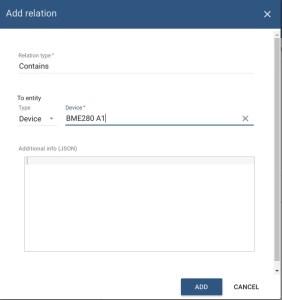 add relation - adicionar um dispositivo