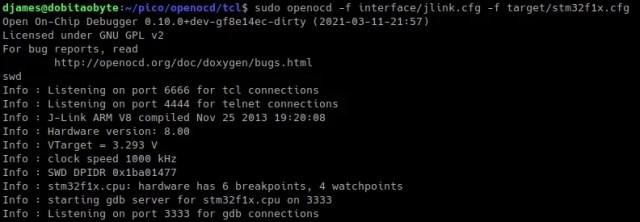 primeiros passos com OpenOCD - conexão funcional