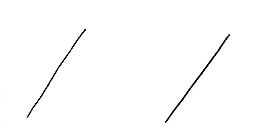 Dos trazos rectos, el primero con estrías y el segundo un trazo limpio.