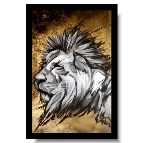 Obrazy zwierzęta drapieżne lew złoty obraz ręcznie malowany farbami 1700A