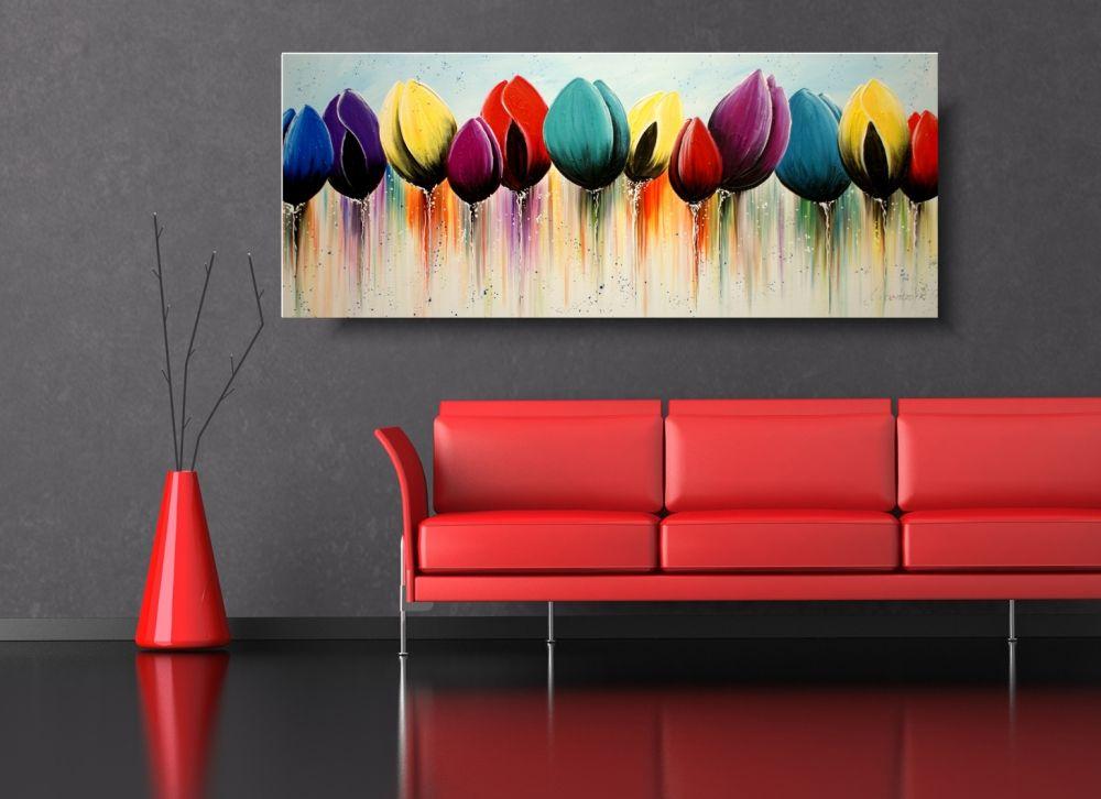 Ikea Obrazy Kolorowe Tulipany Obraz Z Kwiatami Ręcznie Malowane 1624a