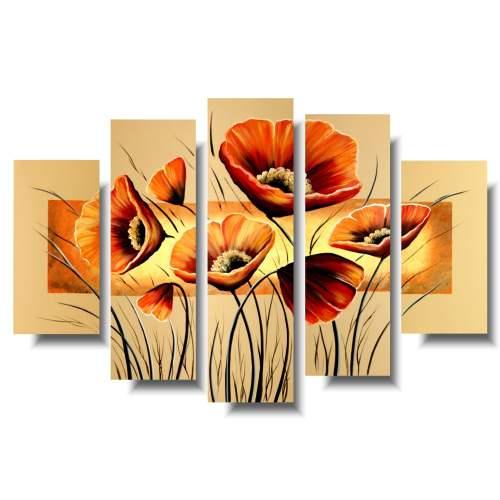 Obraz kwiaty pomarańczowe maki obrazy malowane do mieszkania 1109A