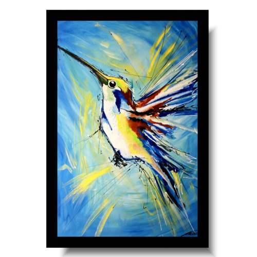 Nowoczesne obrazy do salonu ze zwierzętami niebieski ptak koliber obraz malowany 1740A