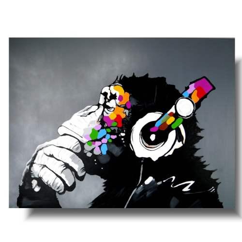 obraz abstrakcja kolorowy szympans małpa 1425A