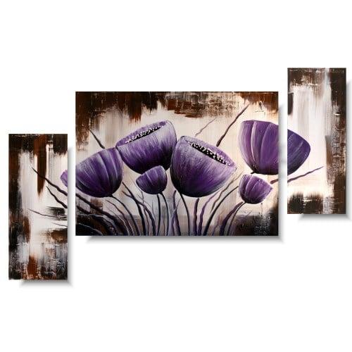 Tulipany obraz tryptyk fioletowe kielichy
