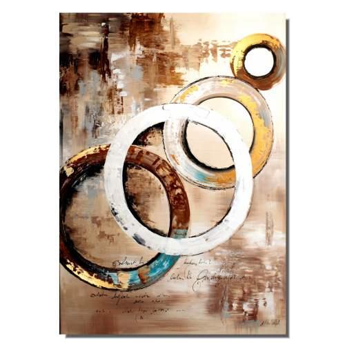 Obraz abstrakcyjny złote obręcze