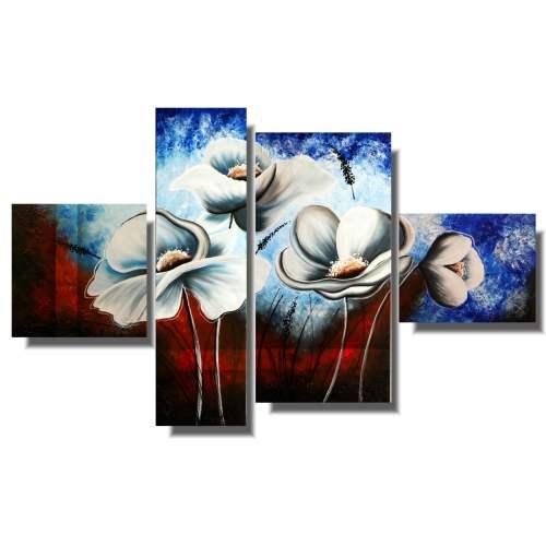 Piękny obraz kwiaty białe maki