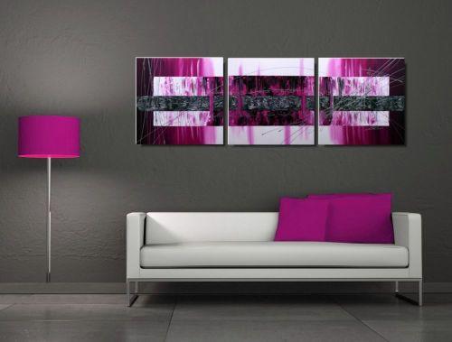 Tryptyk abstrakcja różowe marzenia