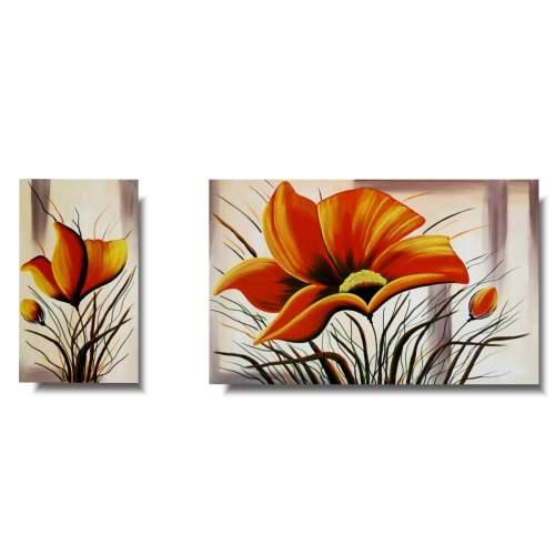 Komplet obrazów pomarańczowe maki