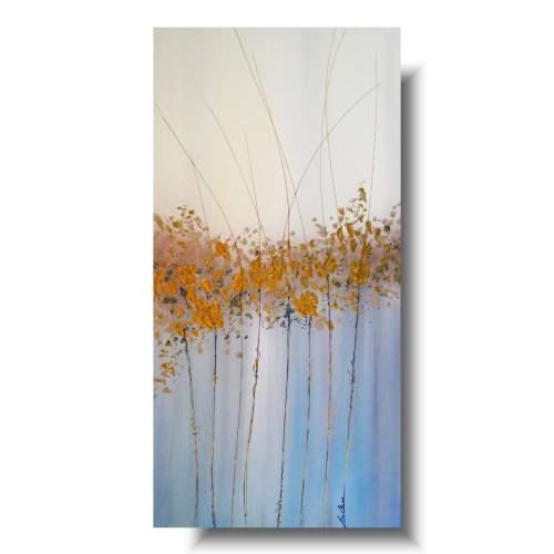 Piękny obraz minimalistyczny złota łąka
