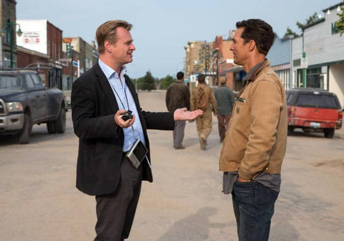 photo de tournage Interstellar : C. Nolan et M. McConaughey