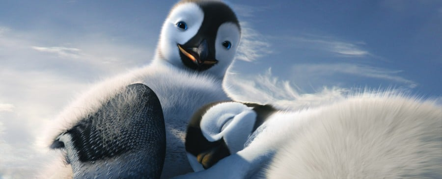 "(L-r) Mumble, voiced by ELIJAH WOOD; and Erik, voiced by AVA ACRES, in Warner Bros. Pictures' and Village Roadshow Pictures' animated family comedy adventure ""HAPPY FEET TWO,"" a Warner Bros. Pictures release."