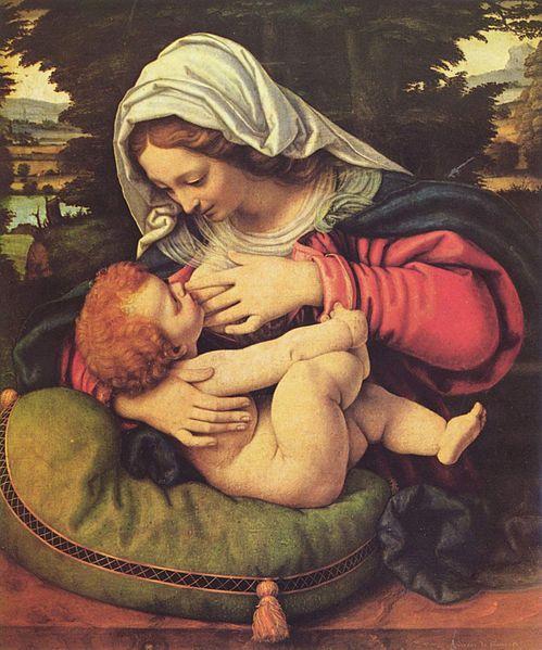 Stillen! Andrea Solario (1460–1522) Madonna mit dem grünen Kissen (Maria lactans)
