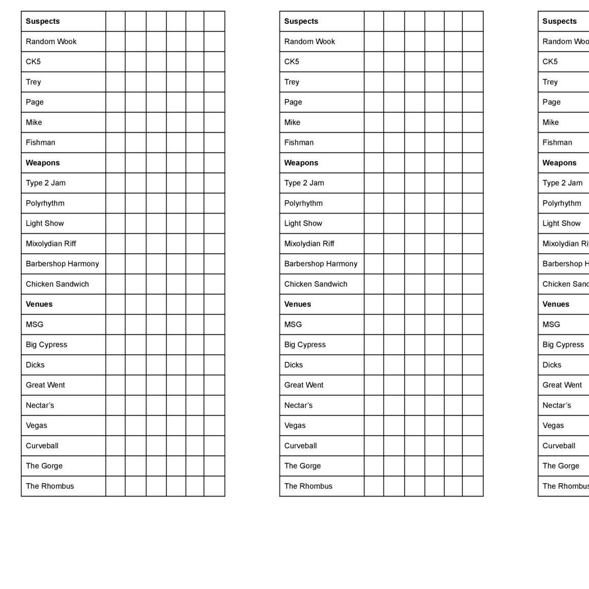 Selective Clue Printable Sheets