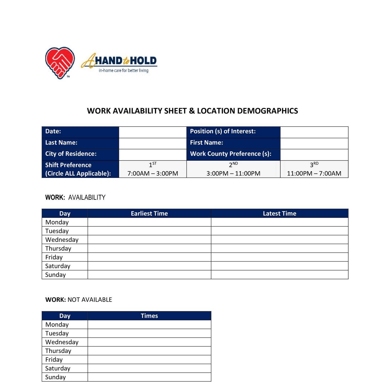 Work Availability Sheetcx