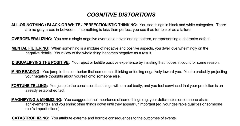 Cognitive Restructuring Worksheets