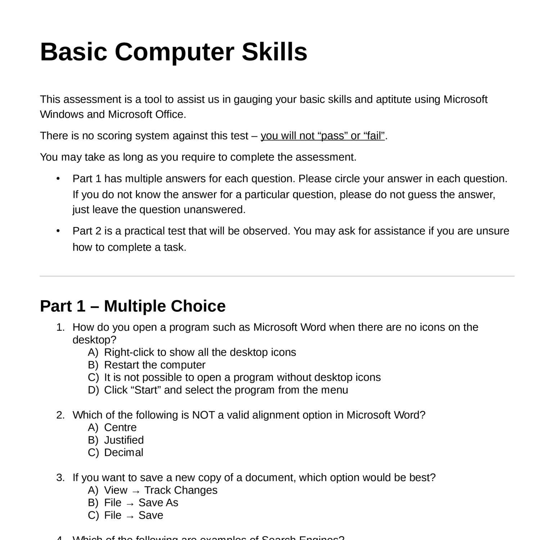 Basic Computer Skills Assessment