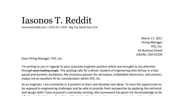 Cover letter reddit cscareerquestions August 20