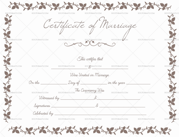 Printable Marriage Certificate - Flower Border – Doc Formats