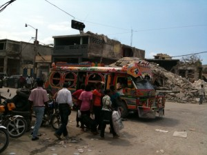 Bright bus and rubble