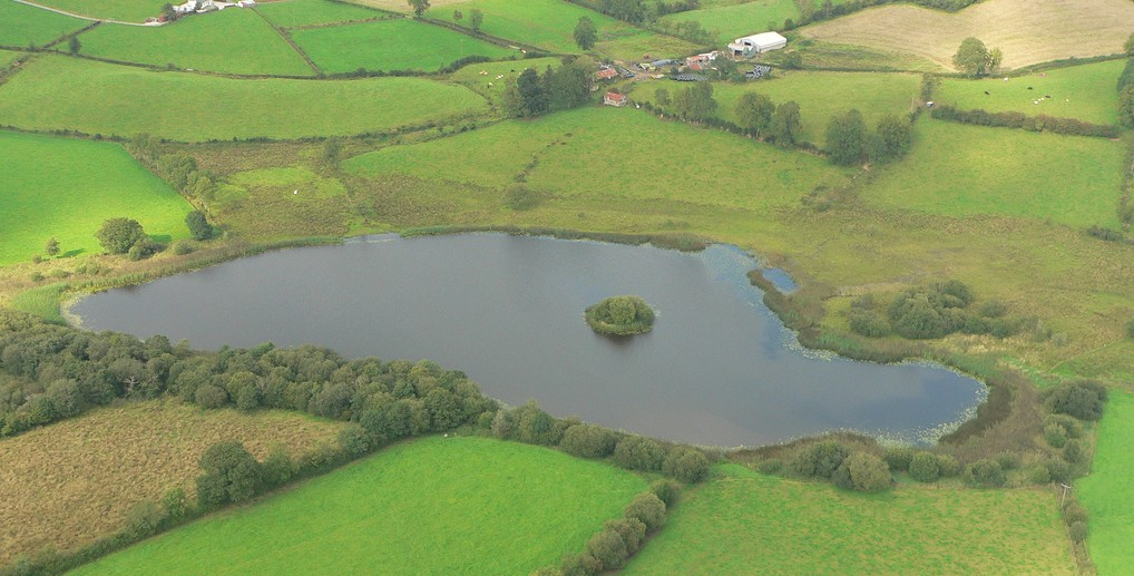A surviving crannóg monument on a lake in Ireland, one of some 1,500 known from around the country