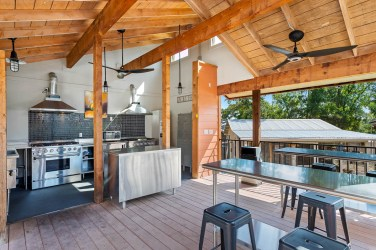 Communal outdoor kitchens located throughout the Village provide space for neighbors to gather and build community.