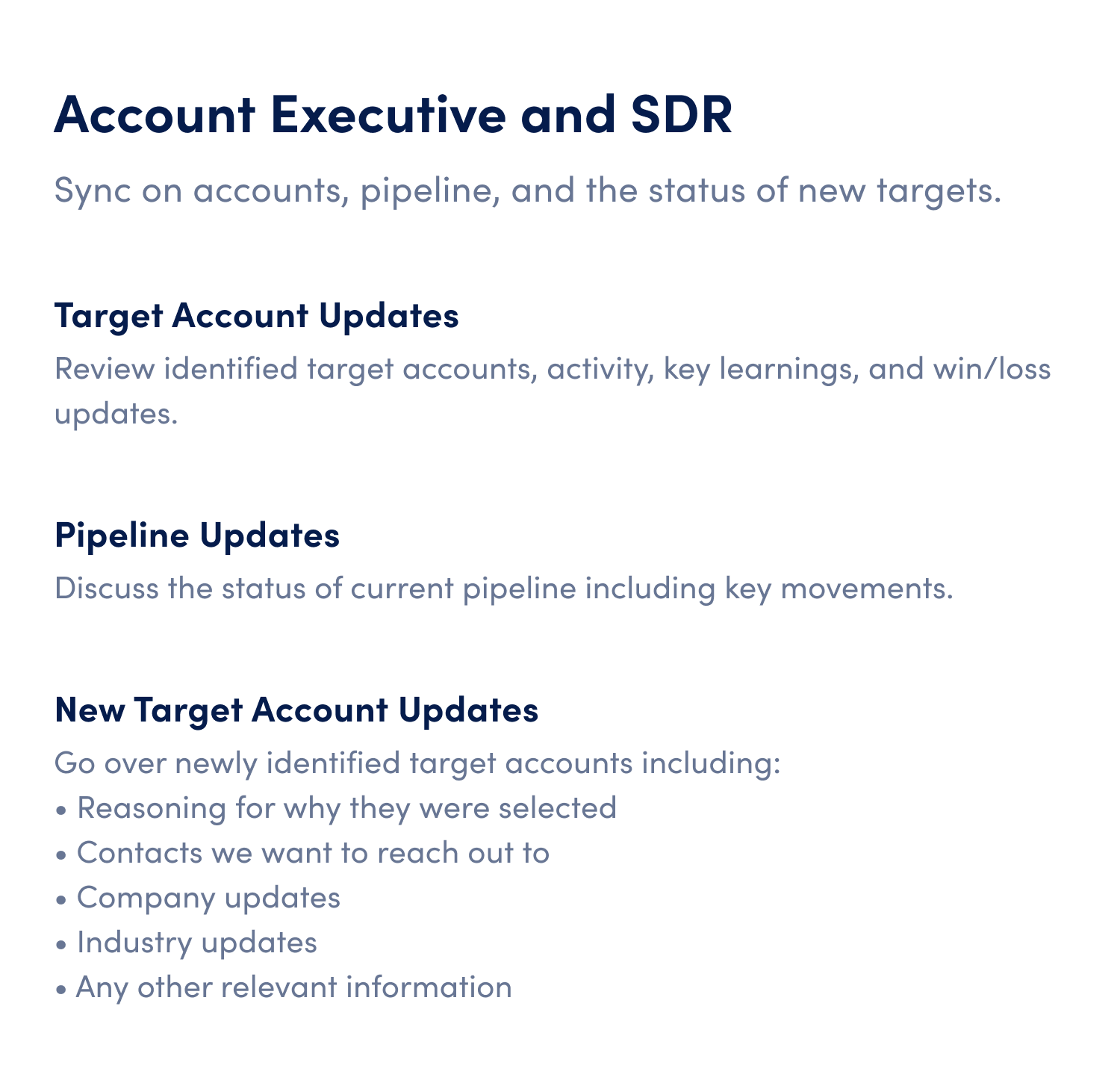 account executive and sdr one on one meeting agenda template