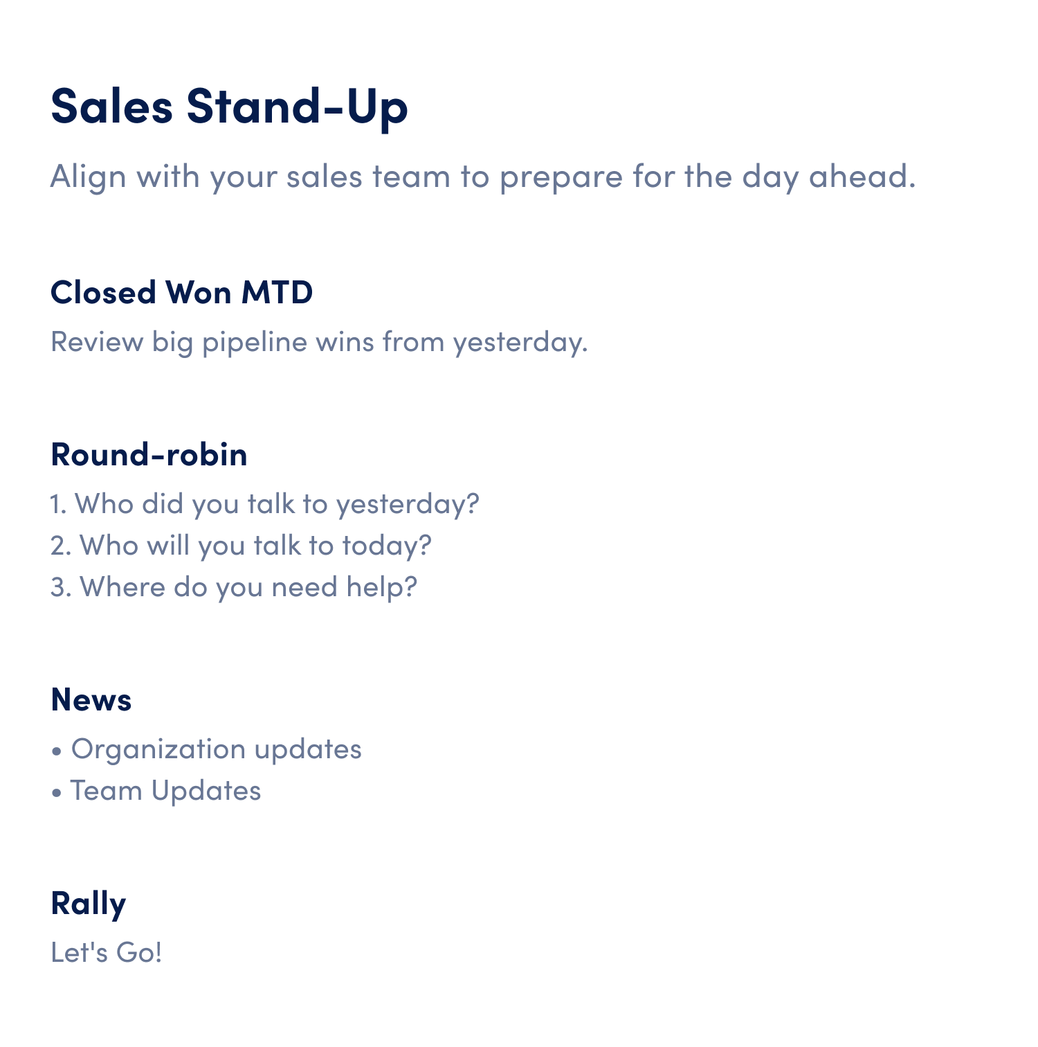 sales stand up meeting agenda template