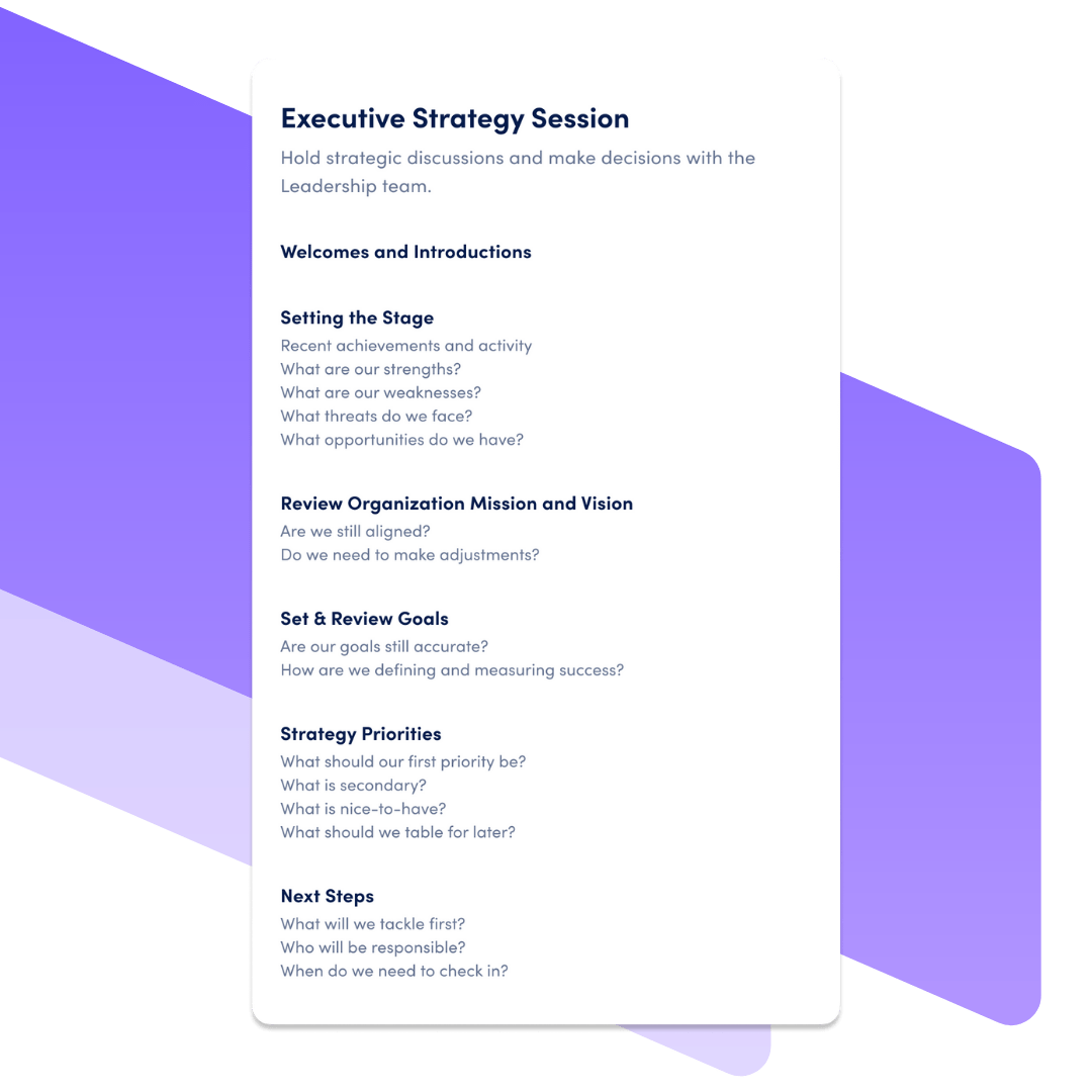 executive strategy session template