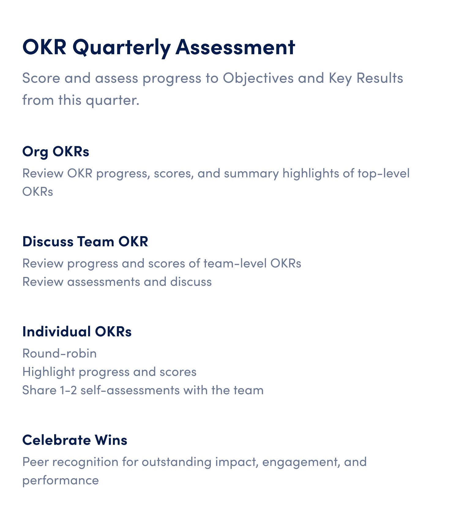 okr quarterly assessment