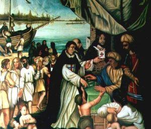 Trinitario pagando para la redención de cristianos en Argel ...