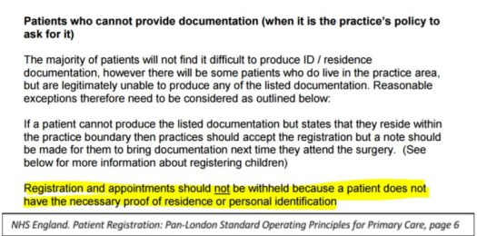 Section from Page 6 of NHS England's Patient Registration: Pan-London Standard Operating Principles for Primary Care