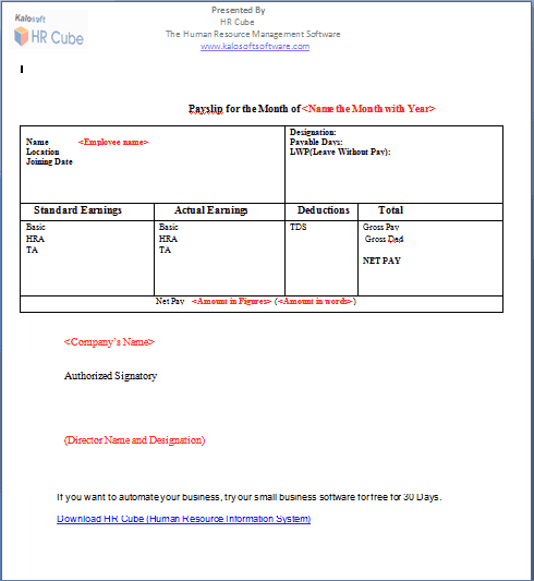 Salary Slip Template 2741  Download Salary Slip Format