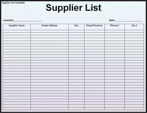 vendor spreadsheet template