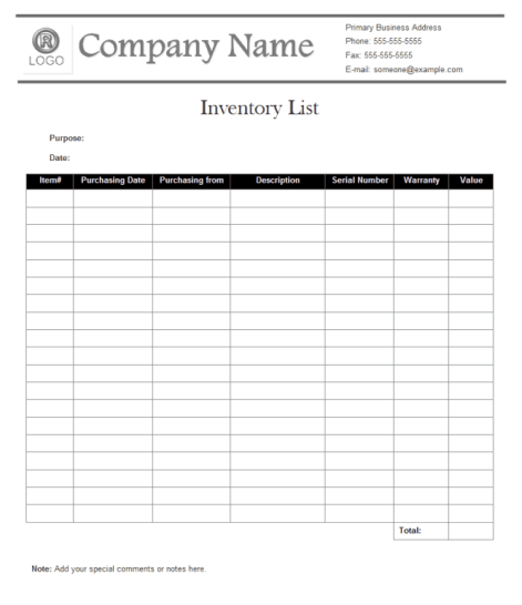 inventory list template 196741