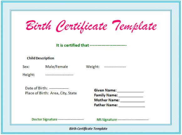 Birth certificate Template 597